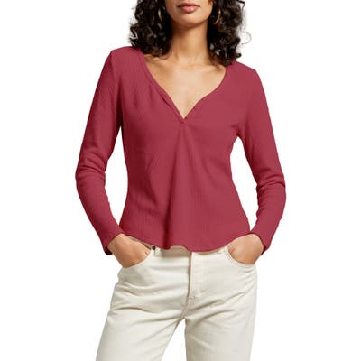 Michael Stars Briann Thermal Henley Tee, Red