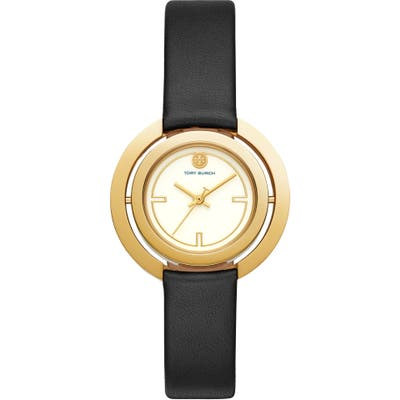 Tory Burch Grier Reversible Case Leather Strap Watch, 2m