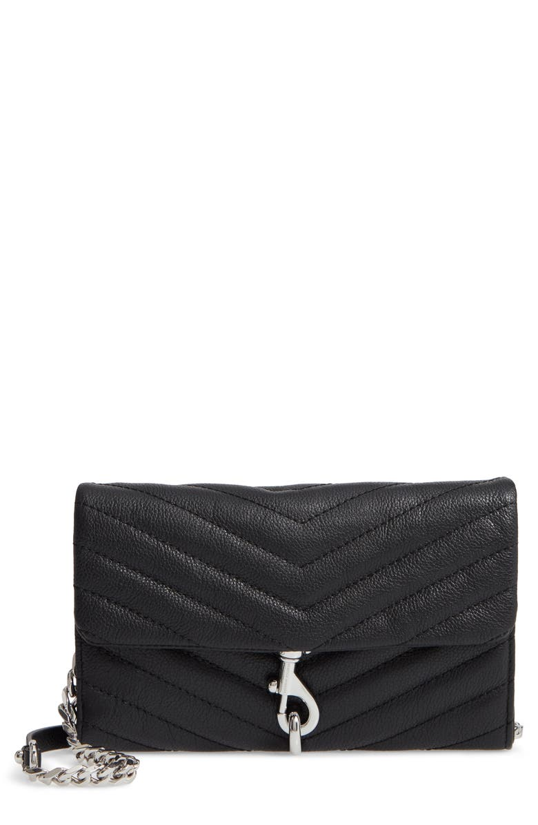 REBECCA MINKOFF Edie Quilted Leather Crossbody Wallet, Main, color, BLACK