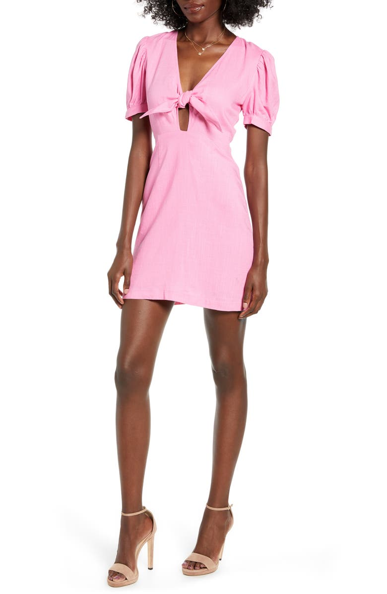 4SI3NNA Cece Tie Neck Linen Blend Minidress, Main, color, PINK