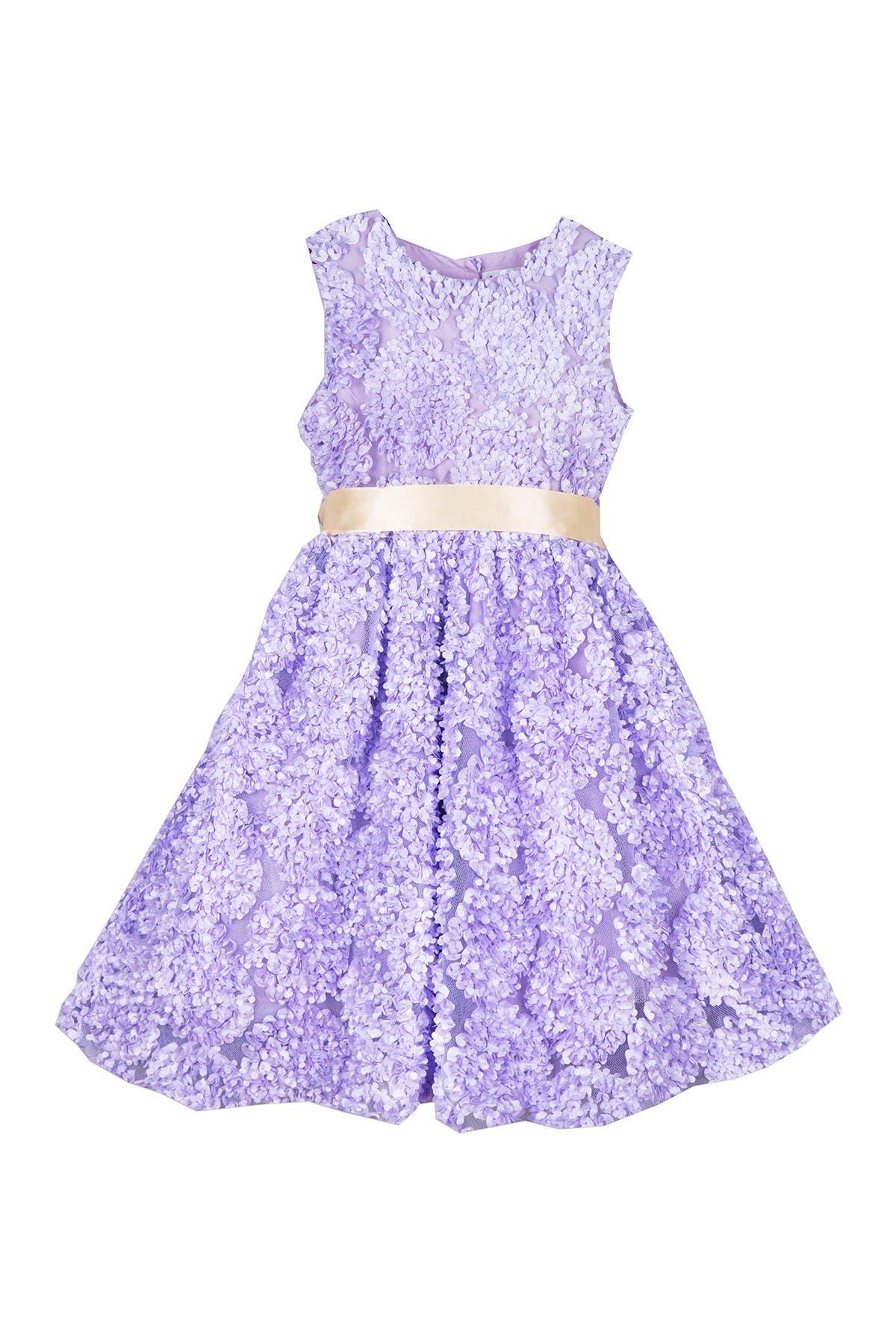 Image of Joe-Ella Magpie Ribbon Lilac Textured Dress