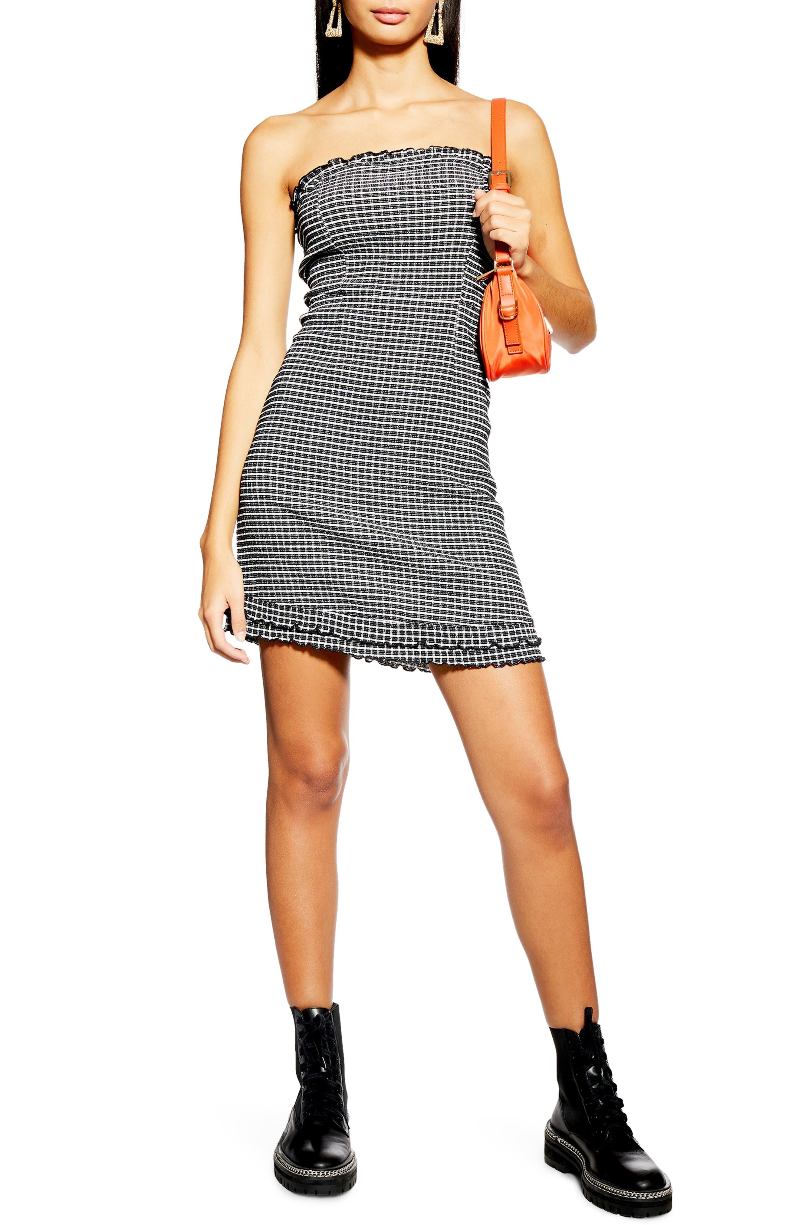 Topshop Check Bandeau Minidress, US (fits like 2-4) - Black
