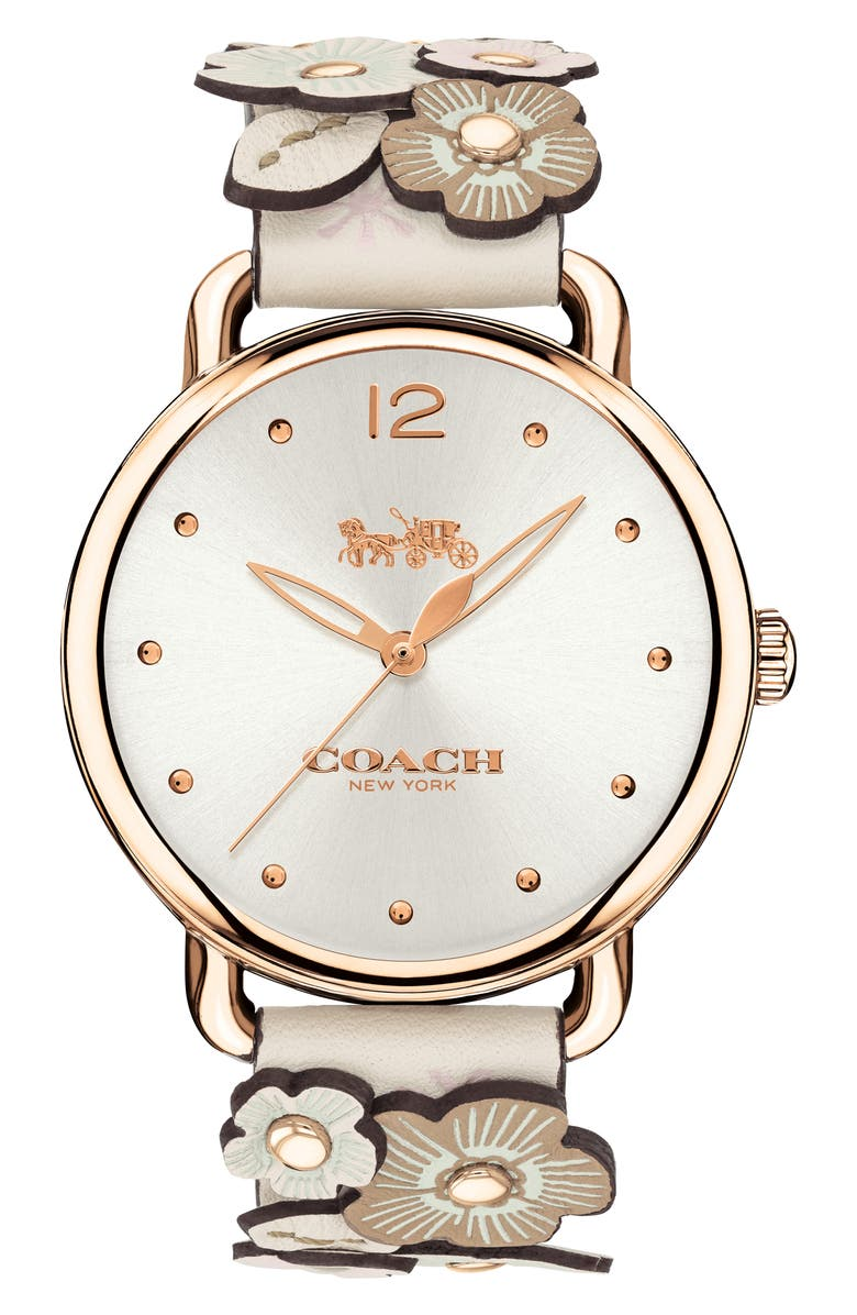 COACH Delancey Leather Strap Watch, 36mm, Main, color, 100