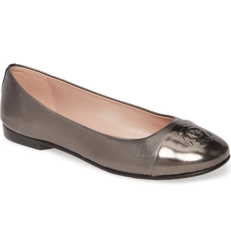 TARYN ROSE COLLECTION Adrianna Cap Toe Skimmer Flat, Main, color, ANTHRACITE NAPPA LEATHER