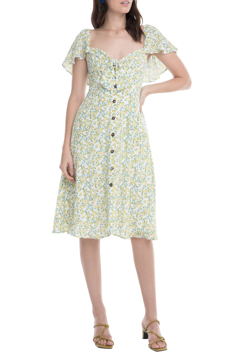 ASTR THE LABEL Rachelle A-Line Dress, Main, color, LEMON DROP