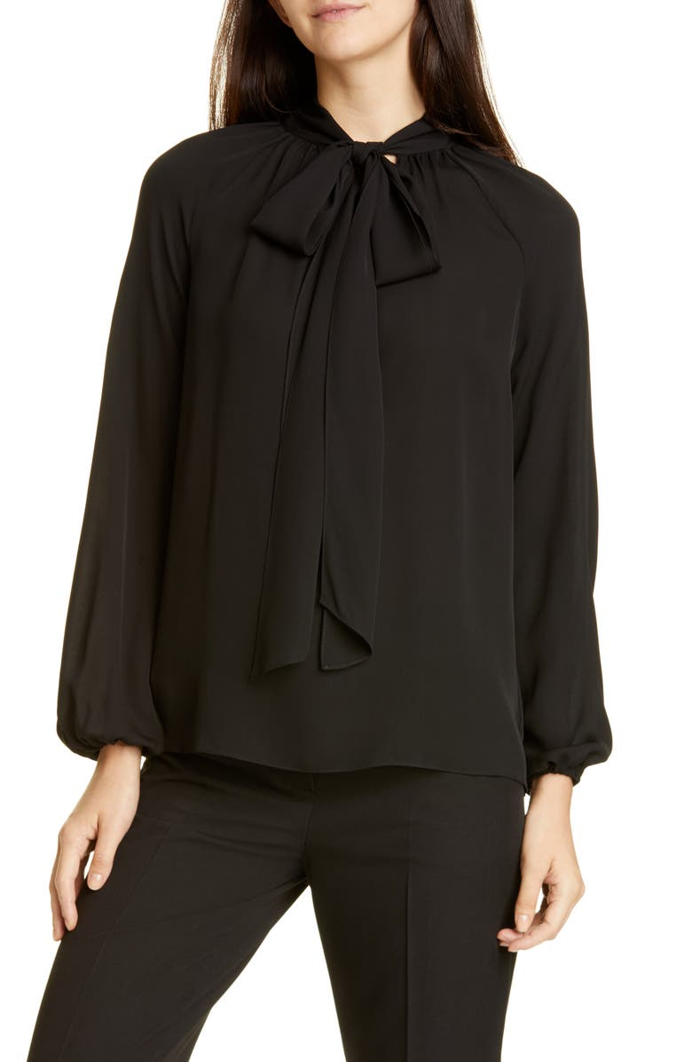 THEORY Tie Neck Silk Georgette Blouse, Main, color, BLACK