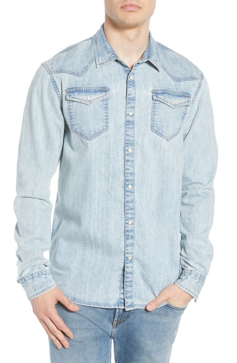 SCOTCH & SODA Snap Front Denim Shirt, Main, color, BLEACHED INDIGO