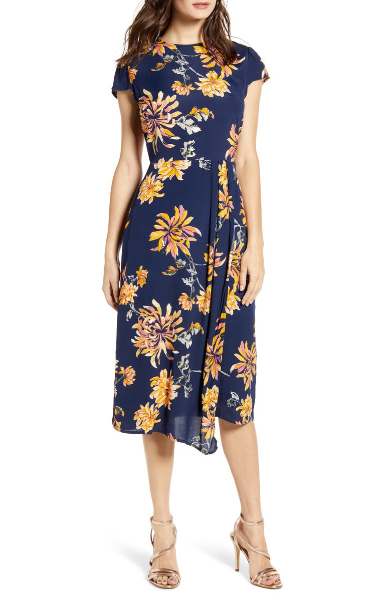LEITH Cap Sleeve Floral Midi Dress, Main, color, NAVY IRIS CHRYS FLWR