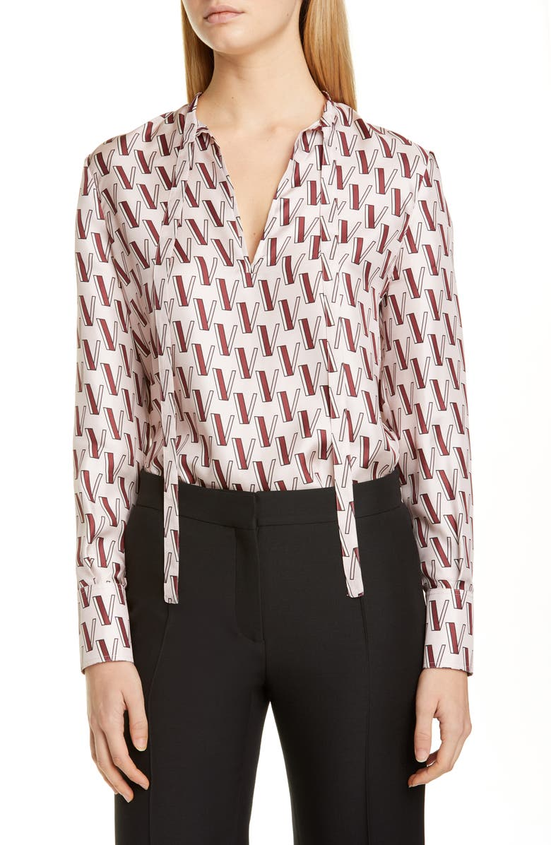 VALENTINO V-Print Tie Neck Silk Twill Blouse, Main, color, 651