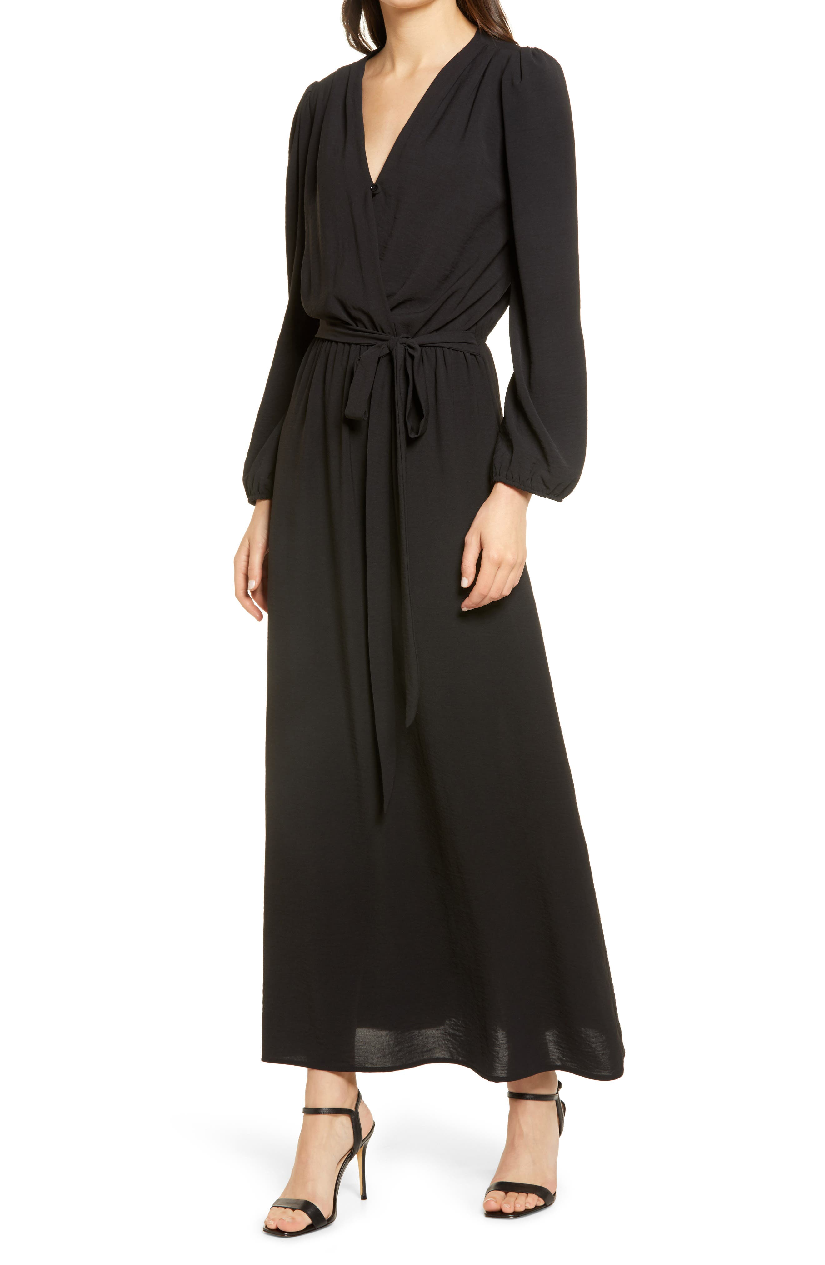 Fraiche by J Wrap Front Long Sleeve Maxi Dress   Nordstrom