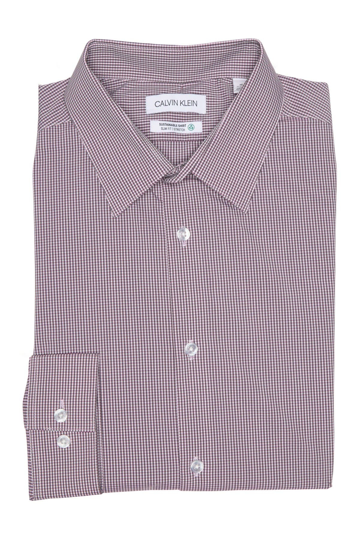 Image of Calvin Klein Micro Print Long Sleeve Slim Fit Shirt