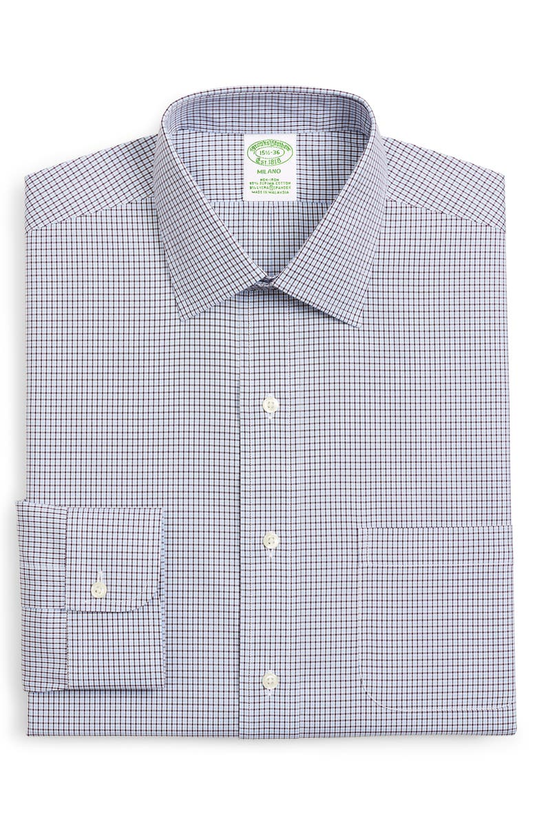 BROOKS BROTHERS Milano Trim Fit Check Dress Shirt, Main, color, OPEN BLUE