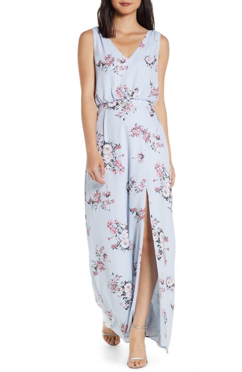 WAYF The Bella Floral V-Neck Slit Maxi Dress, Main, color, DUSTY BLUE FLORAL