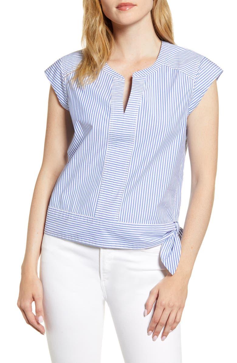 VINEYARD VINES Skiff Stripe Side Tie Top, Main, color, MARLIN