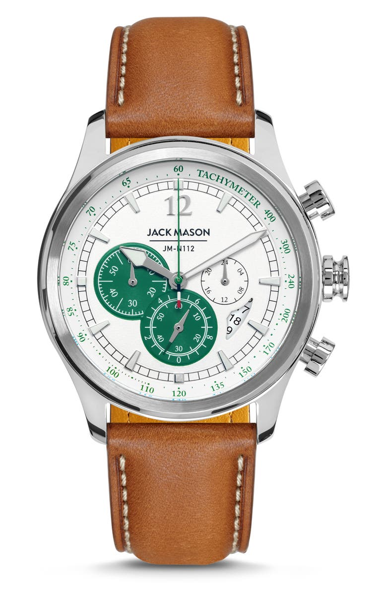 JACK MASON Nautical Chronograph Leather Strap Watch, 42mm, Main, color, GREEN/ BROWN