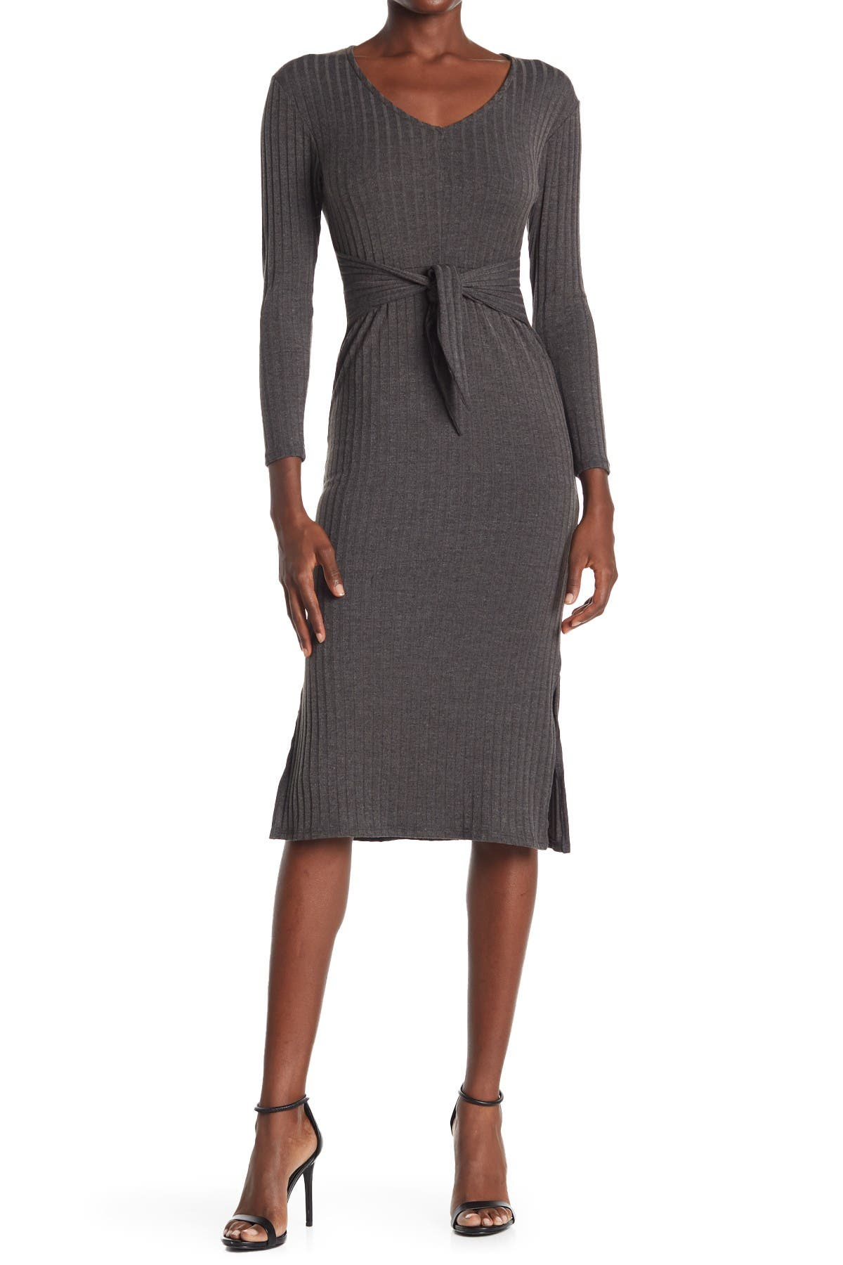 Image of Velvet Torch Long Sleeve Tie Front Ribbed Knit Midi Dress