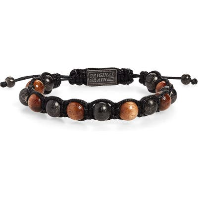 Original Grain Wood & Steel Bead Bracelet
