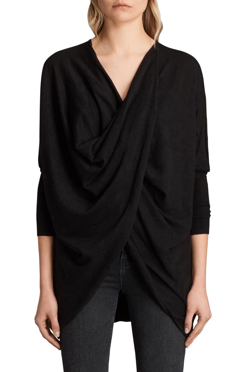 ALLSAINTS Itat Shrug Cardigan, Main, color, 001