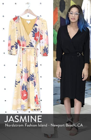 Floral Print Faux Wrap Midi Dress, sales video thumbnail