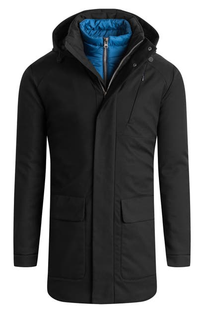 Bugatchi Water Resistant Hooded Parka In Black