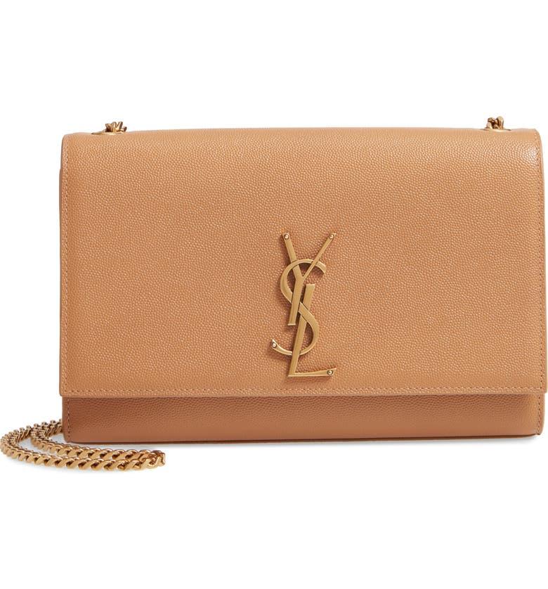 SAINT LAURENT Medium Kate Pebbled Calfskin Shoulder Bag, Main, color, 200