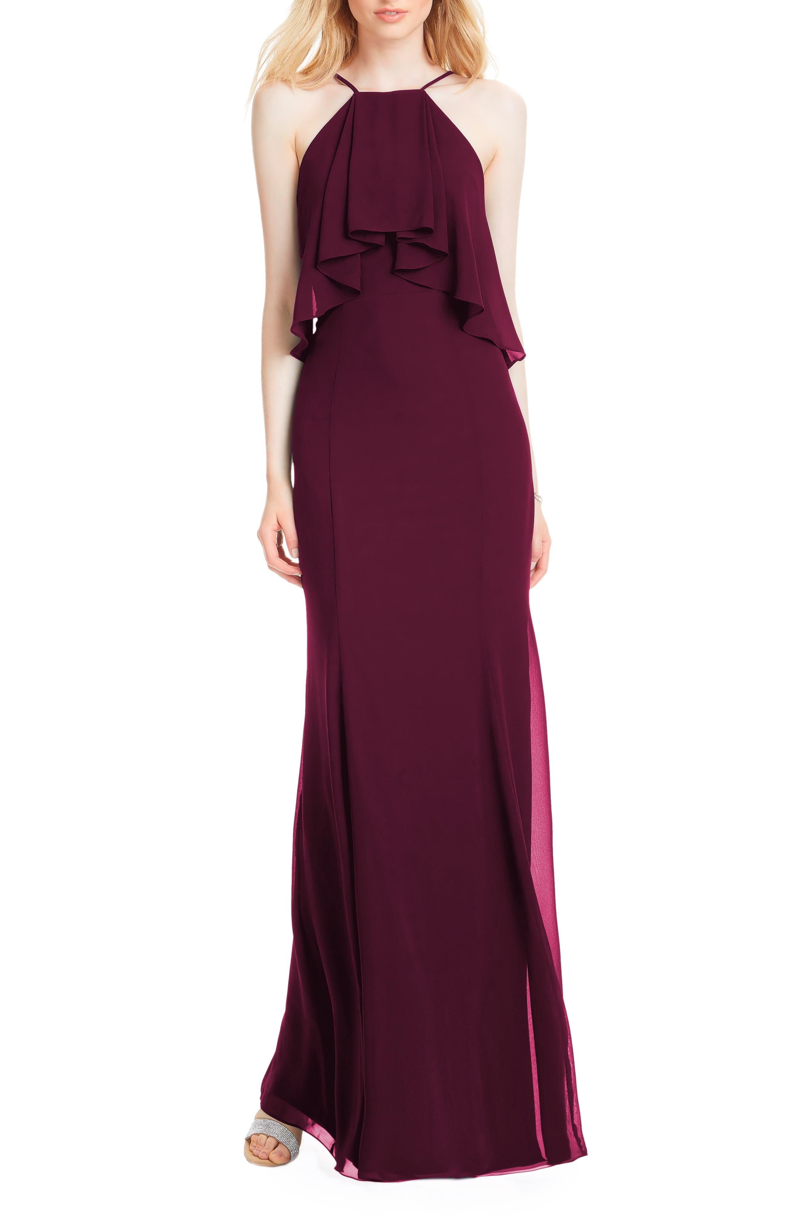 #levkoff Flutter Halter Chiffon A-Line Gown, Red