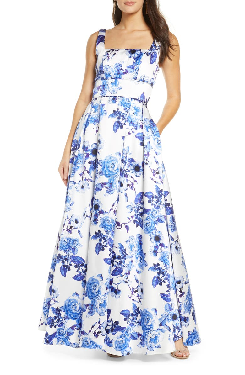 SEQUIN HEARTS Floral Print Pleated Mikado Gown, Main, color, WHITE/ ROYAL