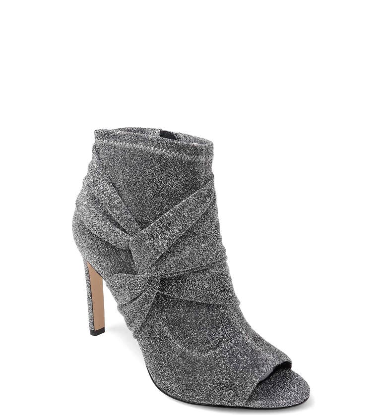 JEWEL BADGLEY MISCHKA Rockford Open Toe Bootie, Main, color, SILVER STRETCH FABRIC