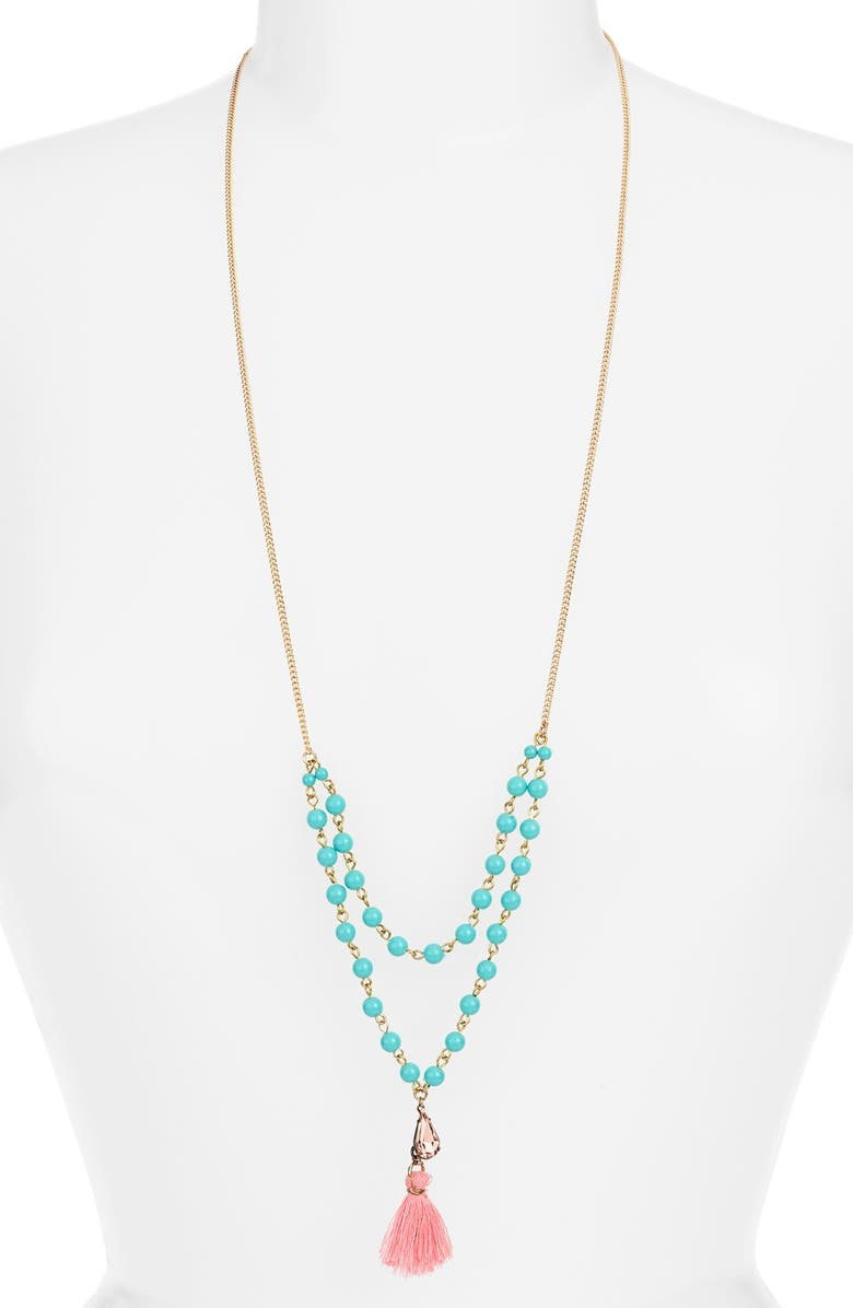 BP. Beaded Tassel Layering Necklace, Main, color, TURQUOISE/ PINK