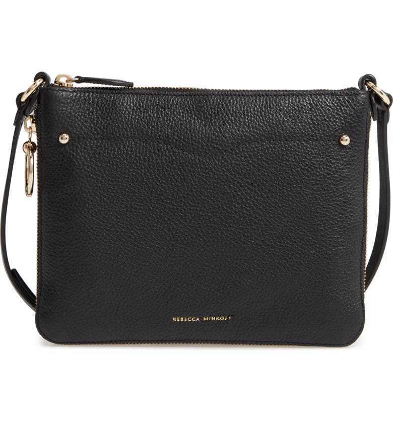 REBECCA MINKOFF Jody Expandable Leather Crossbody Bag, Main, color, BLACK