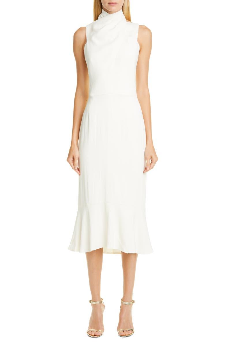 HANEY Draped Halter Midi Dress, Main, color, IVORY