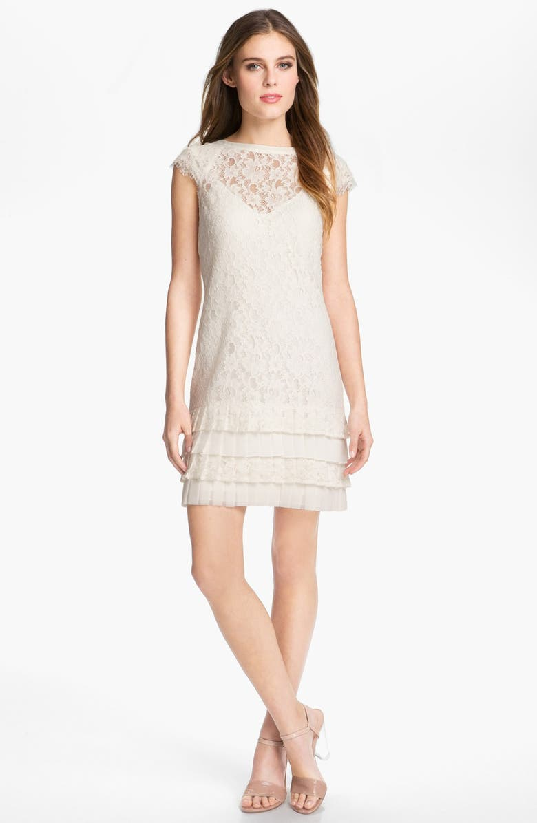 JESSICA SIMPSON Tiered Lace Dress, Main, color, 100