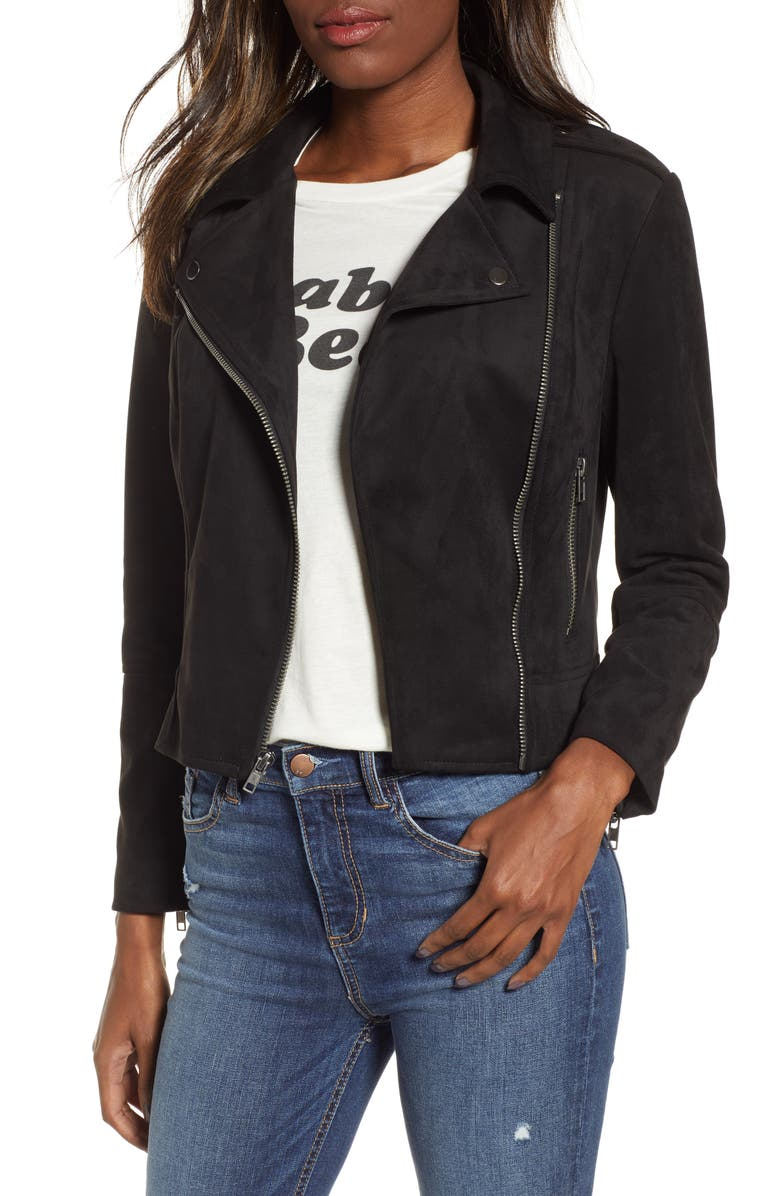 BB DAKOTA Not Your Baby Faux Suede Moto Jacket, Main, color, 001