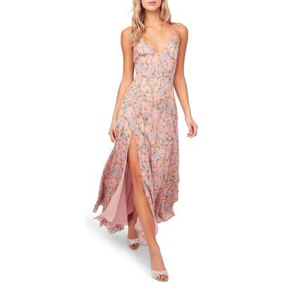 Astr The Label Pandora High Slit Floral Print Maxi Sundress, Pink