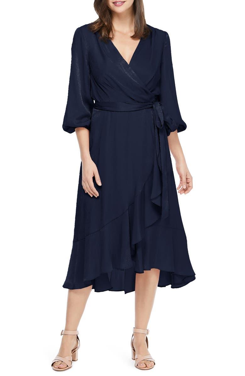 GAL MEETS GLAM COLLECTION Jennifer Shimmer Satin Wrap Dress, Main, color, 462