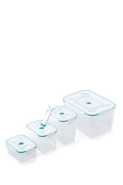 Image of Honey-Can-Do Vac 'n Save Opaque/Teal 9-Piece Rectangular Set