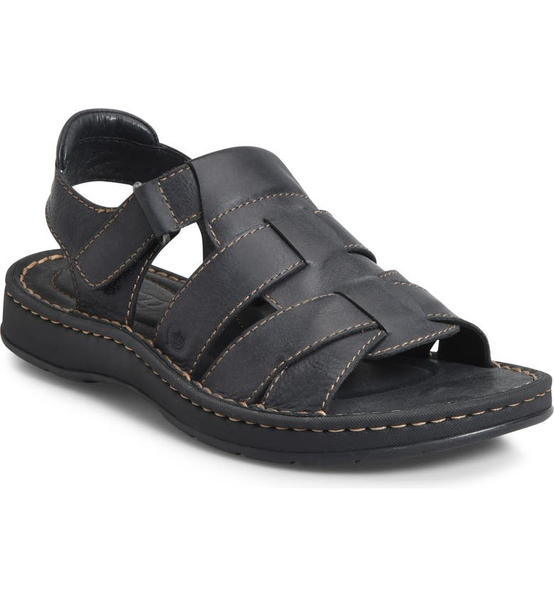 BØRN Kristoffer Sandal, Main, color, BLACK LEATHER