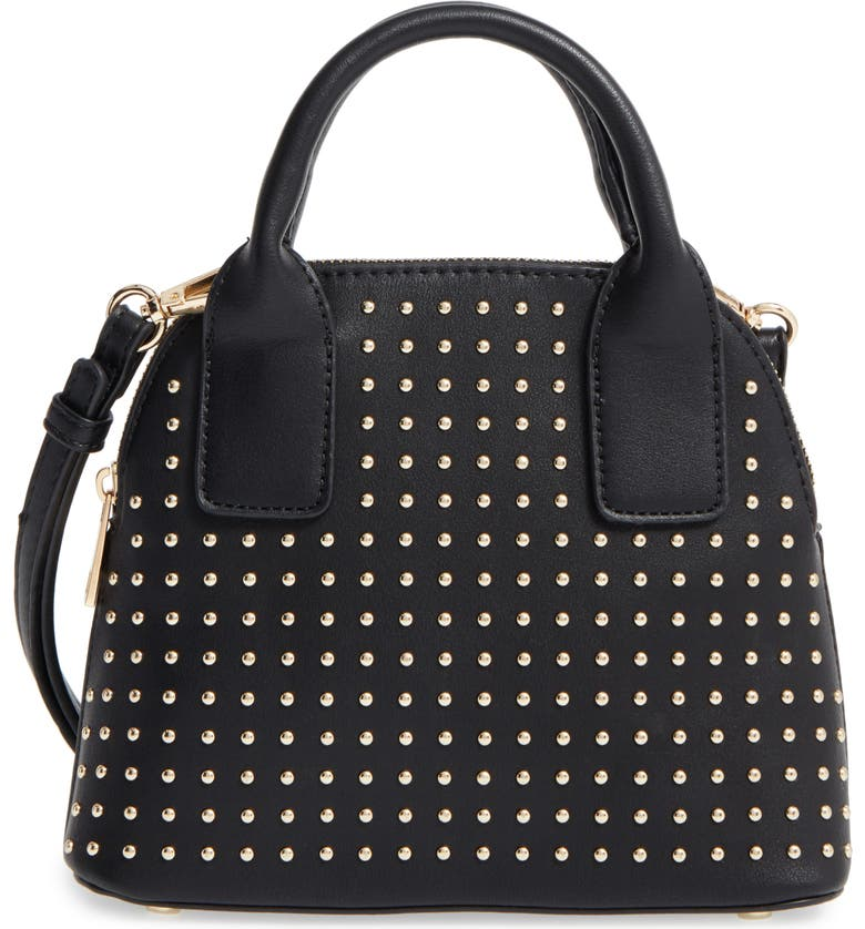 SOLE SOCIETY Amalia Studded Dome Faux Leather Satchel, Main, color, 001