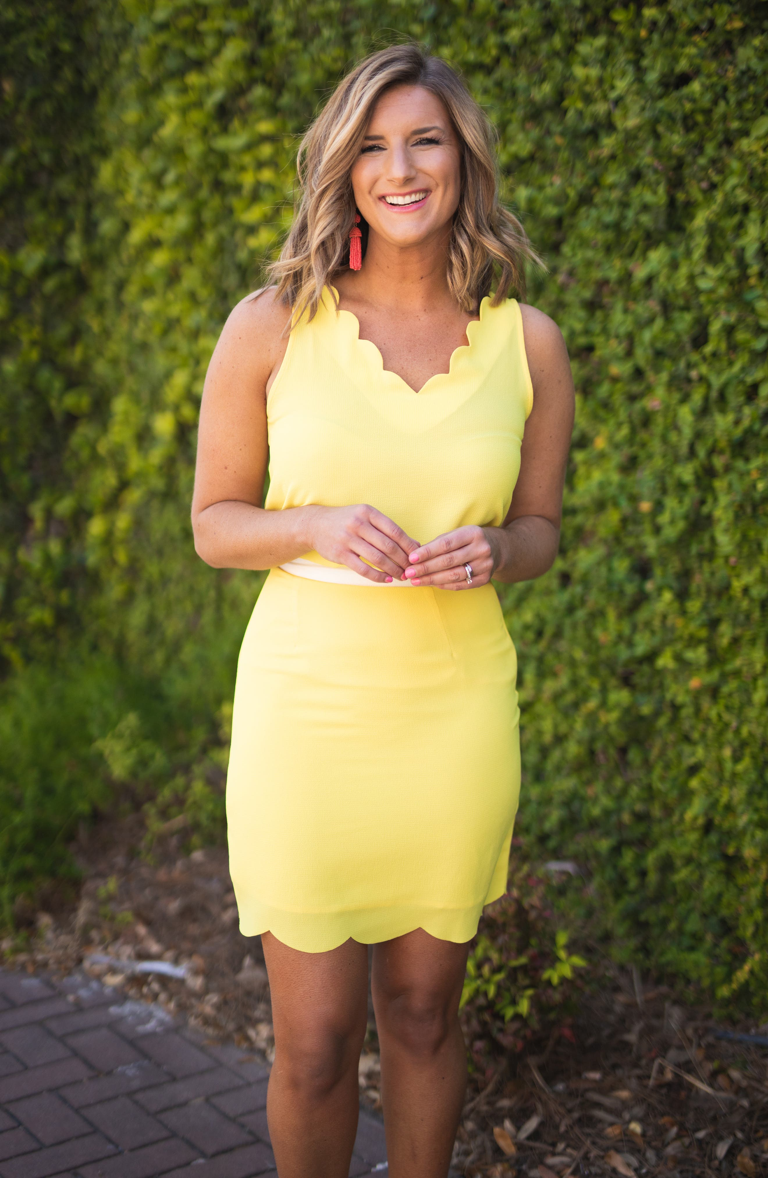 ,                             x Living in Yellow Daphne Scallop Hem Skirt,                             Alternate thumbnail 8, color,                             YELLOW W/ IVORY