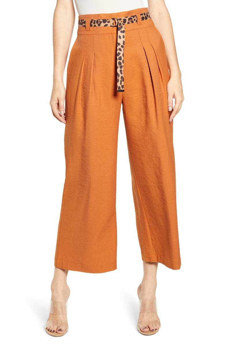J.O.A. Belted Wide Leg Pants, Main, color, BRONZE