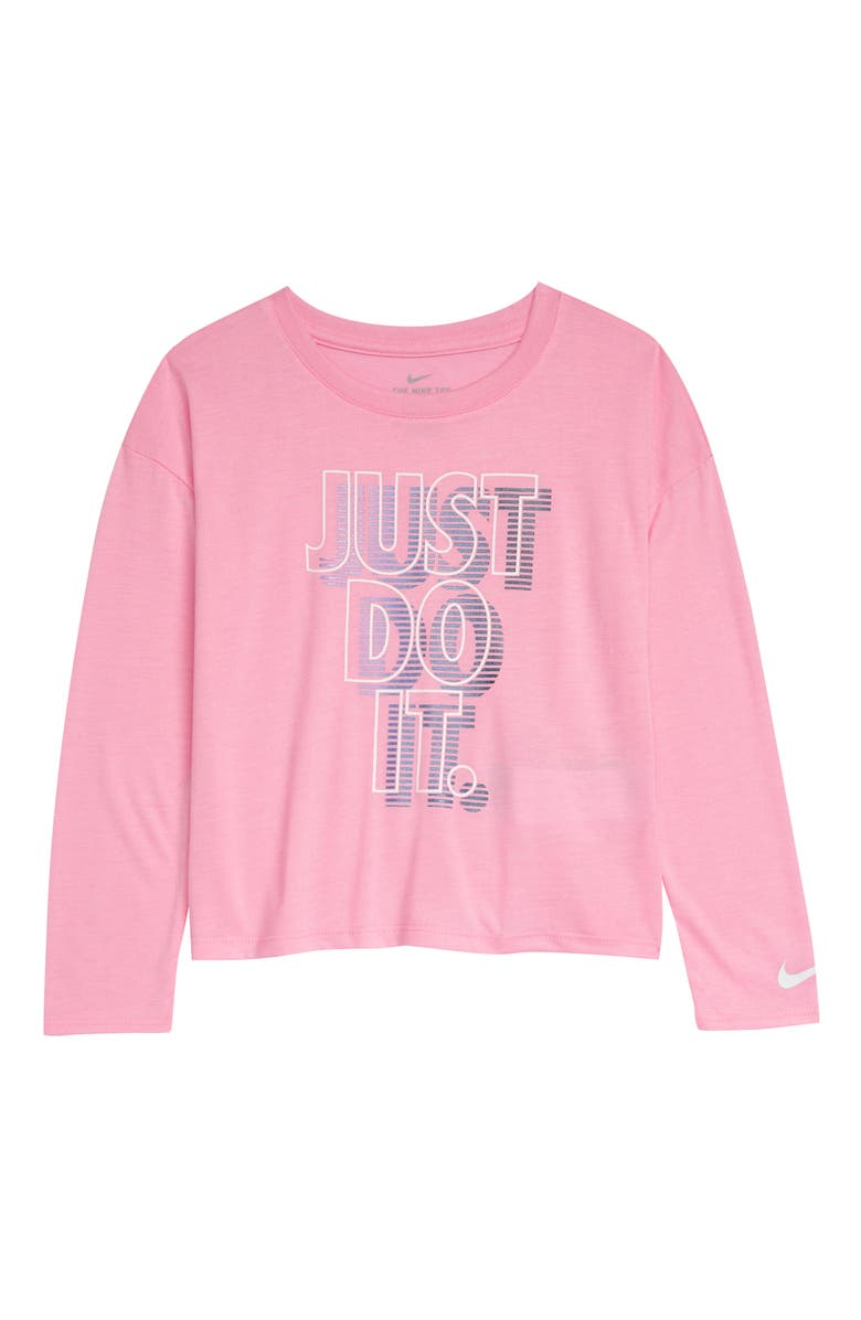 NIKE JDI Spaced Long Sleeve Graphic Tee, Main, color, PINK