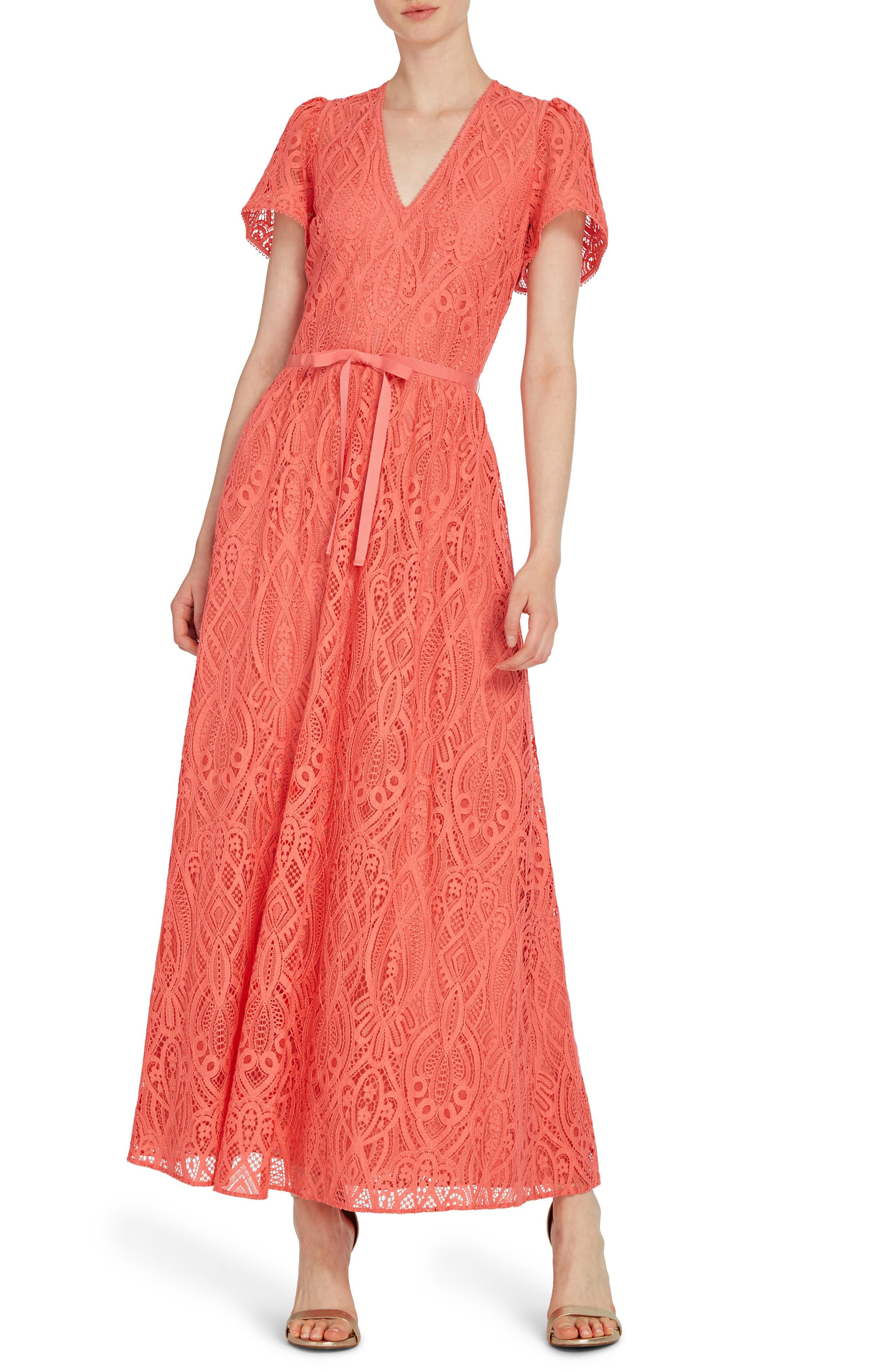 1930s Dresses | 30s Art Deco Dress Womens Ml Monique Lhuillier V-Neck Lace Maxi Dress $495.00 AT vintagedancer.com