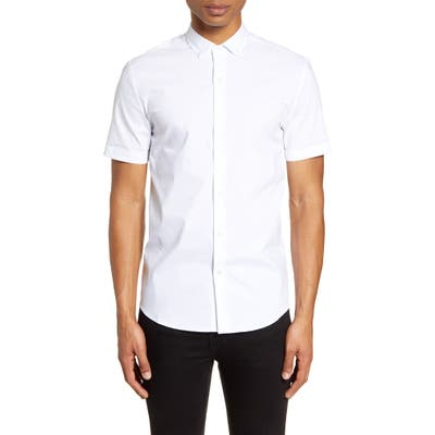 Topman Short Sleeve Button-Down Shirt, White