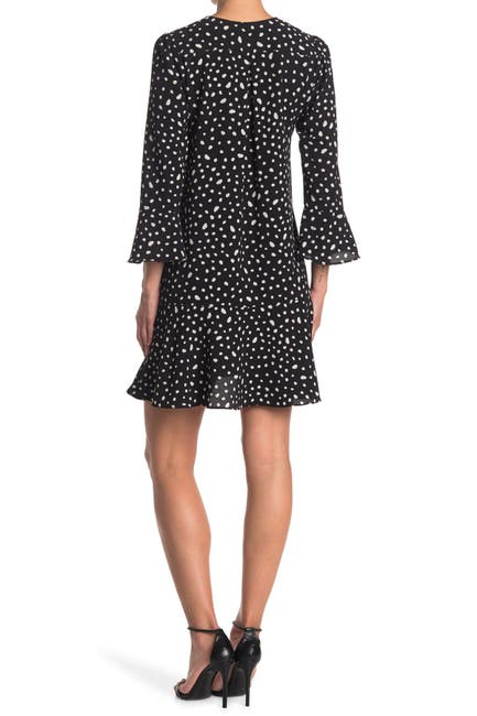Image of London Times Ruffled Bell Sleeve Shift Dress