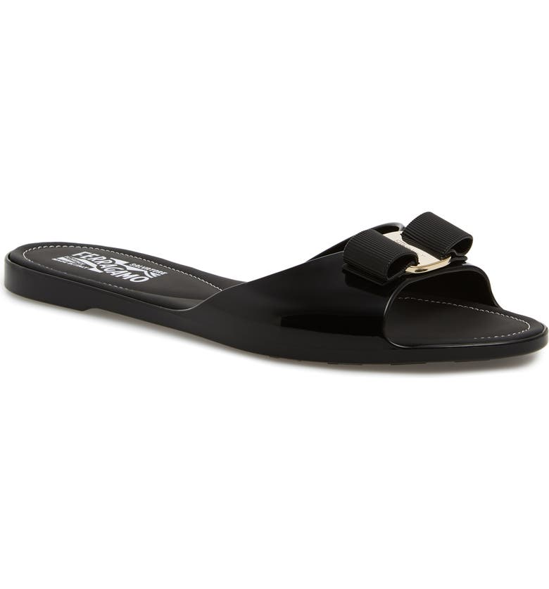 SALVATORE FERRAGAMO Cirella Bow Slide Sandal, Main, color, BLACK