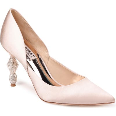 Badgley Mischka Evan Crystal Heel Pointed Toe Pump, Beige