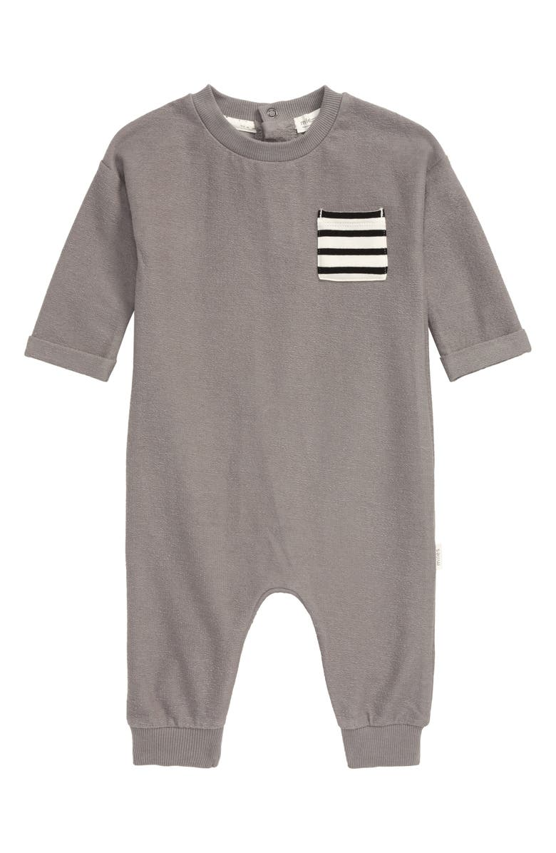 MILES BABY Pocket Romper, Main, color, MEDIUM GREY