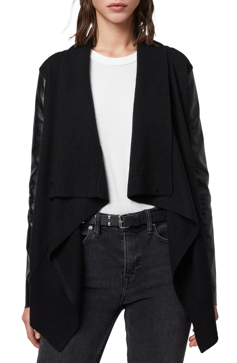 ALLSAINTS Lucia Wool & Leather Cardigan, Main, color, BLACK