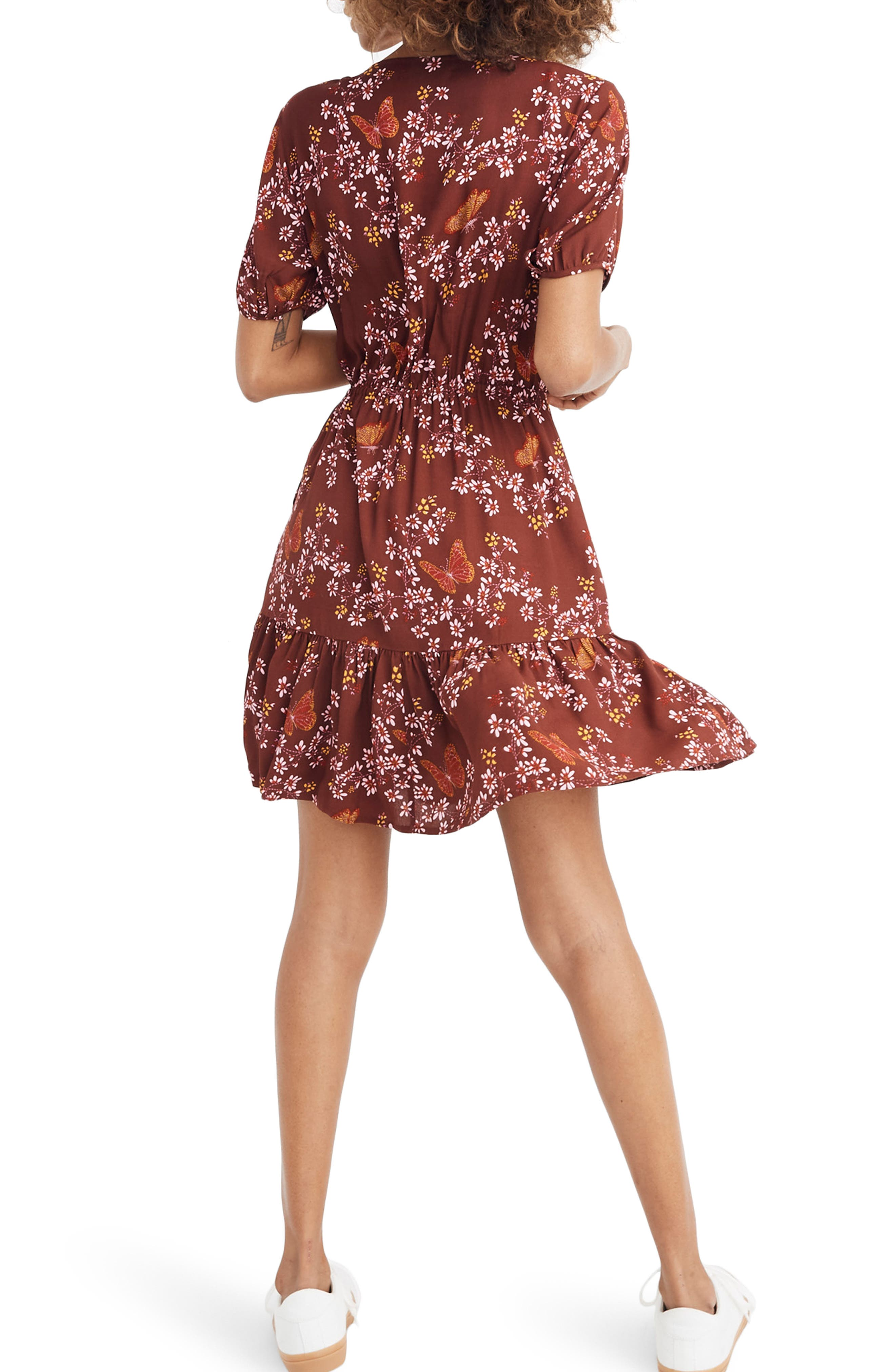Madewell Windowbox Floral Ruffle Faux Wrap Dress, Red