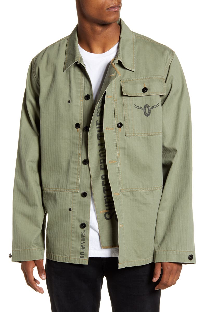 BARKING IRONS x Bob Dylan P44 Shelter Denim Jacket, Main, color, FATIGUE GREEN